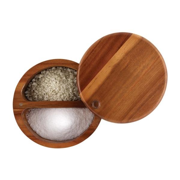 Paula Deen Signature Pantryware Wooden 2-Compartment Round Salt Box