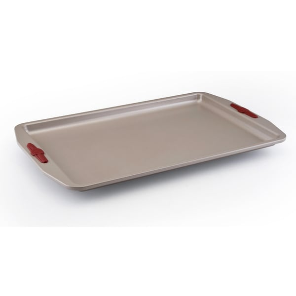 Paula Deen Signature Nonstick Bakeware 11 x 17-inch Champagne with Red Silicone Grips Cookie Pan