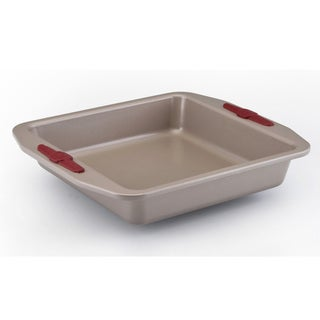 Paula Deen Signature Nonstick Bakeware 9-inch Champagne with Red Silicone Grips Square Cake Pan