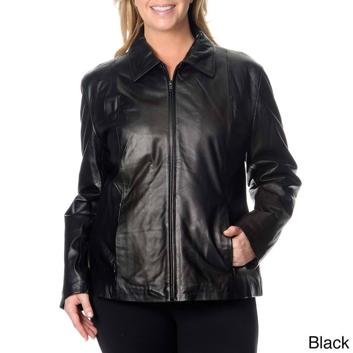Excelled Women's Plus Size Leather Scuba Jacket (Black-1X...