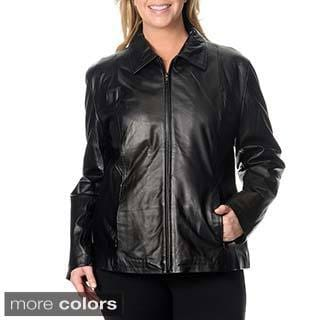 Excelled Women's Plus Size Leather Scuba Jacket