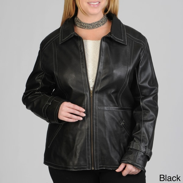 Excelled Women's Brown Size 2X Leather Zip Front Scuba
