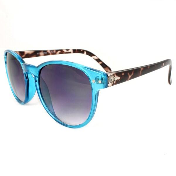 Women's Bright/ Leopard Plastic Oval Sunglasses
