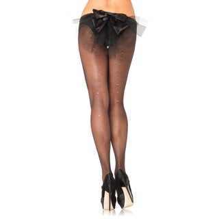 Leg Avenue Women's Sheer Rhinestone Back Seam Pantyhose