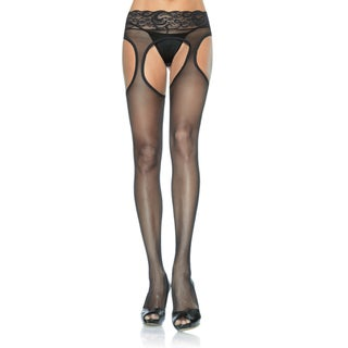 Leg Avenue Women's Sheer Suspender Hose with Lace Waist