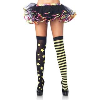 Leg Avenue Women's Green/ Black Stars/ Stripes Thigh Highs