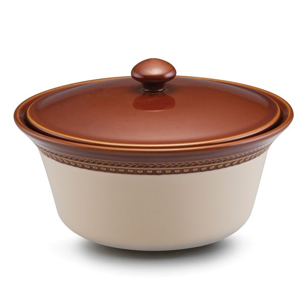 Paula Deen Signature Stoneware Southern Gathering 2.5-Quart Brown Covered Round Casserole Dish