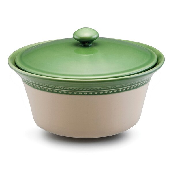 Paula Deen Signature Stoneware Southern Gathering 2.5-Quart Green Covered Round Casserole Dish