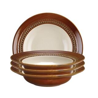 Paula Deen Dinnerware 4-piece Soup Bowl Set-Southern Gathering, Chestnut 9-inch