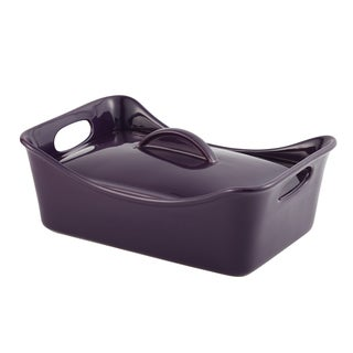 Rachael Ray Stoneware 3 1/2-quart Purple Rectangular Covered Casserole and Baking Dish
