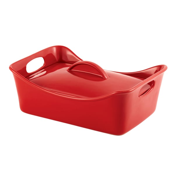 Rachael Ray Stoneware 3 1/2-quart Red Rectangular Covered Casserole and Baking Dish