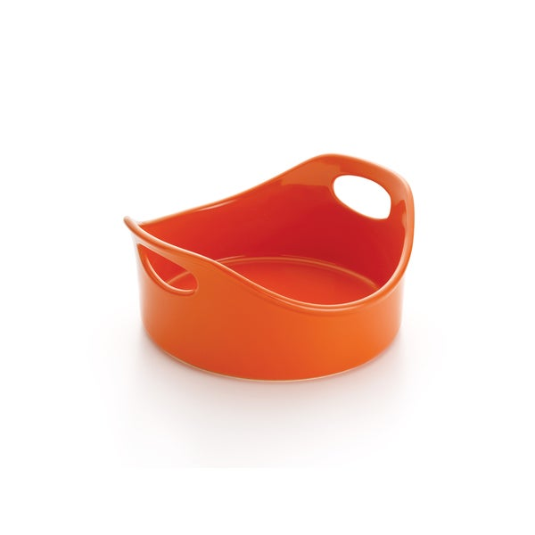 Rachael Ray Stoneware 2-quart Orange Round Open Baker