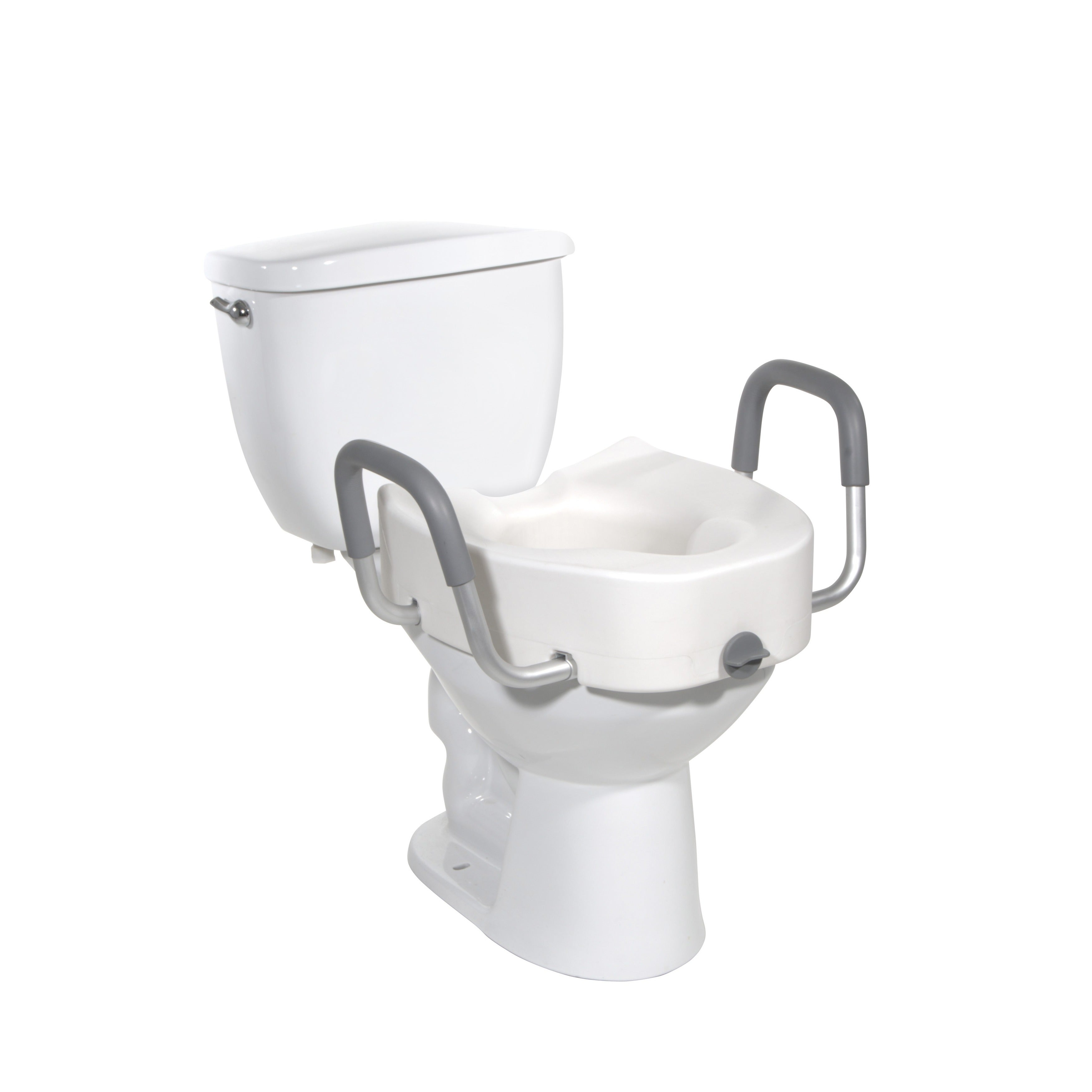 Awesome Drive Medical Premium Plastic Raised Toilet Seat With Lock And Padded Armrests Elongated White Short Links Chair Design For Home Short Linksinfo