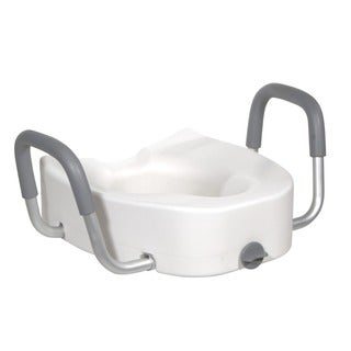 Drive Medical Premium Plastic Raised, Elongated Toilet Seat with Lock, and Padded Armrests