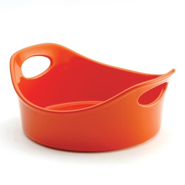 Rachael Ray Stoneware 1 1/2-quart Orange Round Baker