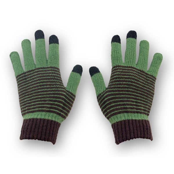Solegear Women's Green Stripe Touch Screen Smart Gloves