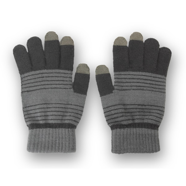 Solegear Men's Grey Stripe Touch Screen Smart Gloves