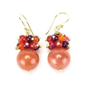 Brass Elegant Stone Earrings (Thailand)