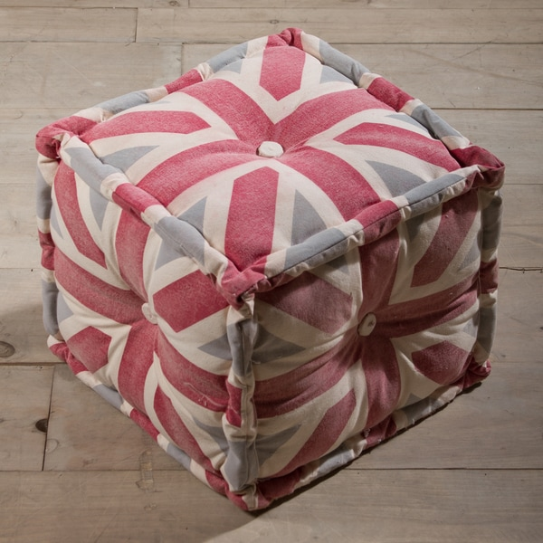 Union Jack Color Canvas Pouf Ottoman (India)