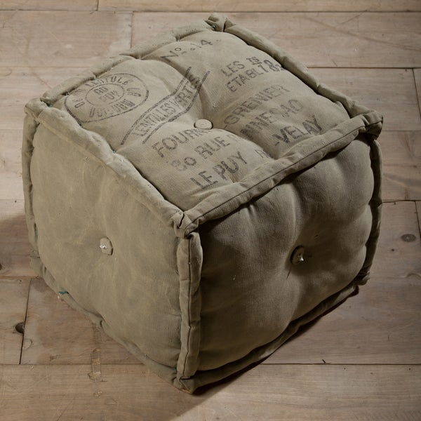 Stamped Army Canvas Pouf Ottoman (India)