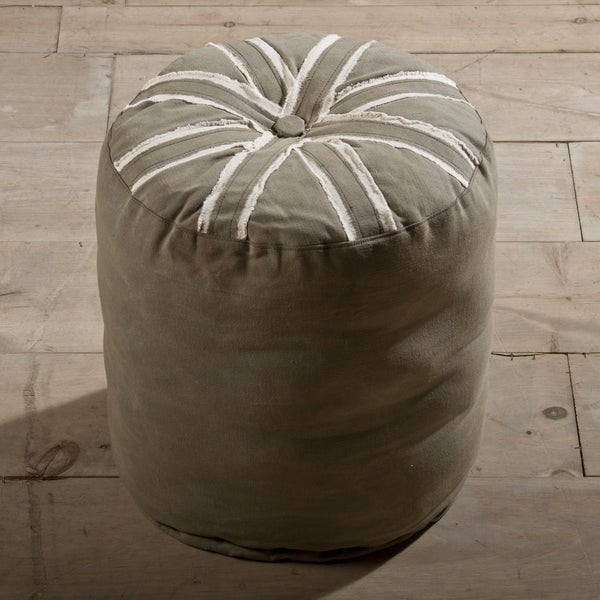 Union Jack Round Army Canvas Pouf Ottoman (India)