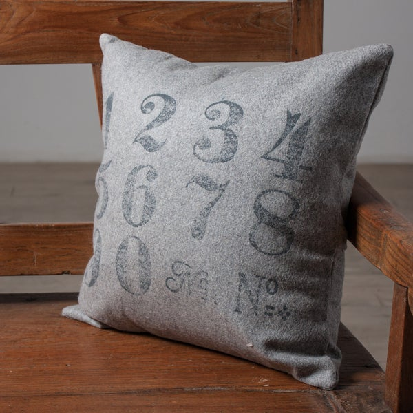 Throw Pillow With Numbers : Numbers Grey Accent Pillow (India) - Free Shipping On Orders Over $45 - Overstock.com - 14919034