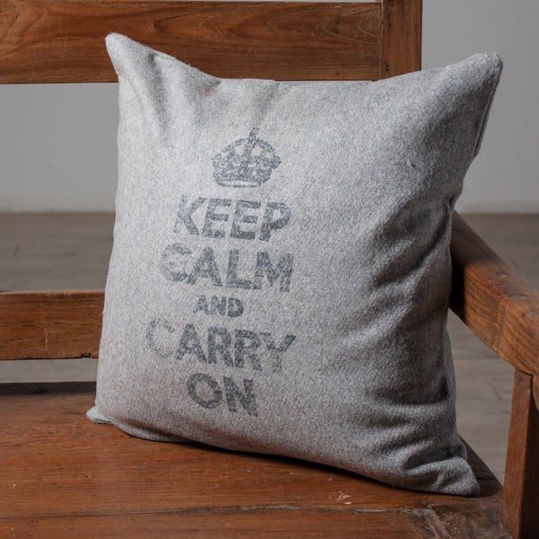 Keep Calm Grey Accent PIllow (India)