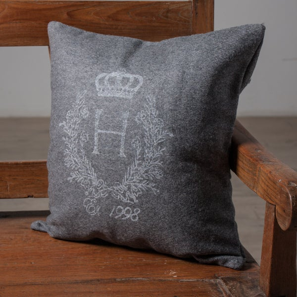 Crest Charcoal Accent Pillow (India)