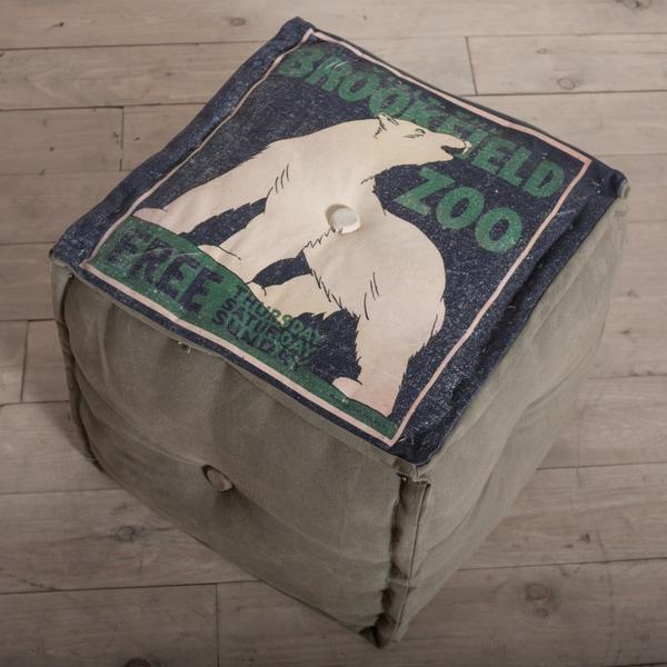 Brookfield Zoo Polar Bear Canvas Pouf Ottoman (India)