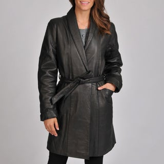 Excelled Women's Lambskin Leather Belted Wrap