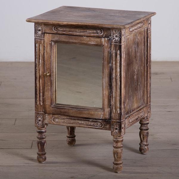 One-Door Mango Wood Nightstand with Mirror (India)