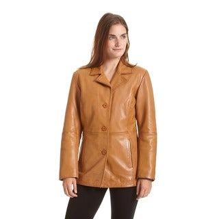 Excelled Women's Leather Button Front Stroller Jacket