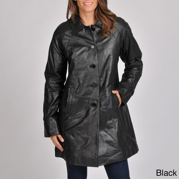 Excelled Women's Leather Swing Coat - Free Shipping Today ...