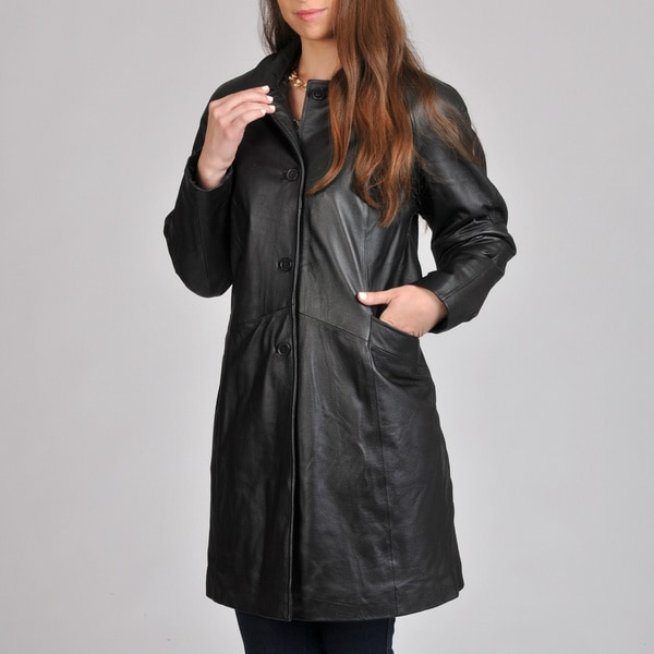 Excelled Women's Leather Button-front Swing Coat - Free Shipping ...