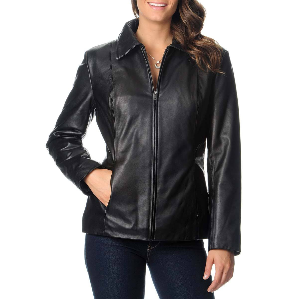 Excelled Women's Leather Zip-front Scuba Jacket (Red-M), ...
