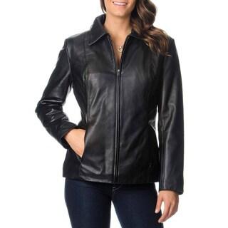Excelled Women's Leather Zip-front Scuba Jacket