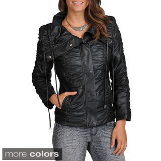 Excelled Women's Ruched Faux Leather Coat