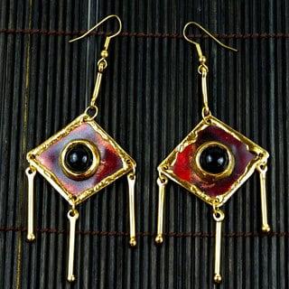 Handmade Onyx Tri-Dangles Earrings (South Africa)