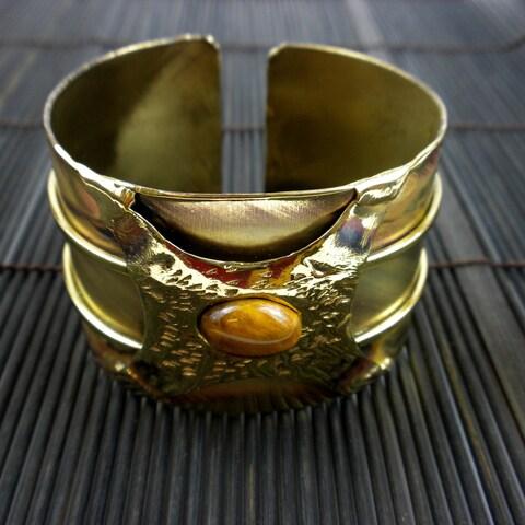 Handmade Brass Tigers Eye Strength Cuff (South Africa)