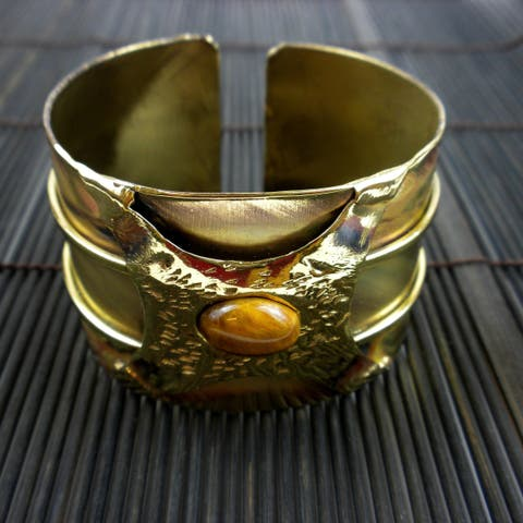 Handmade Brass Tigers Eye Strength Cuff (South Africa)