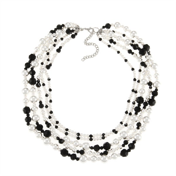 Alexa Starr Silvertone Faux Pearl and Black Glass Baubles Necklace