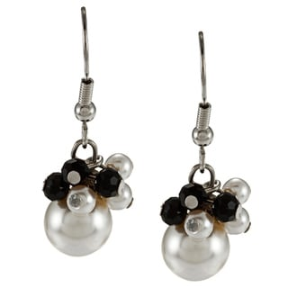 Alexa Starr Silvertone Black and White Faux Pearl Cluster Earrings