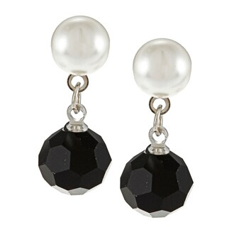 Alexa Starr Silvertone Black and White Faux Pearl Earrings
