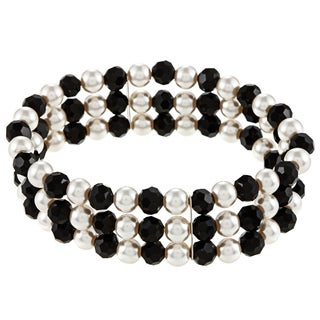 Casual Glass Pearl-and-Black Glass Three-Row Stretch Bracelet - Black & White