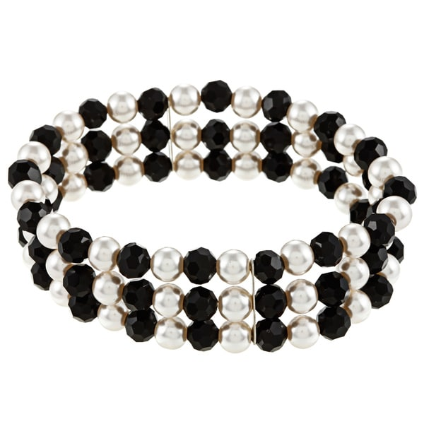 Alexa Starr Casual Faux-Pearl-and-Black Glass Three-Row Stretch Bracelet