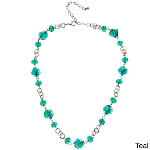 Faceted Glass Twisted Bead Short Necklace