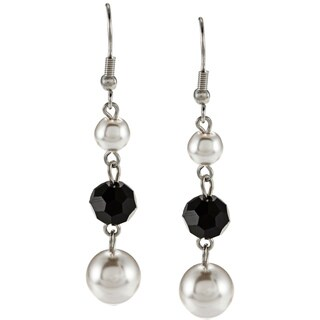 Alexa Starr Silvertone Pearl and Black Glass Triple Drop Earrings