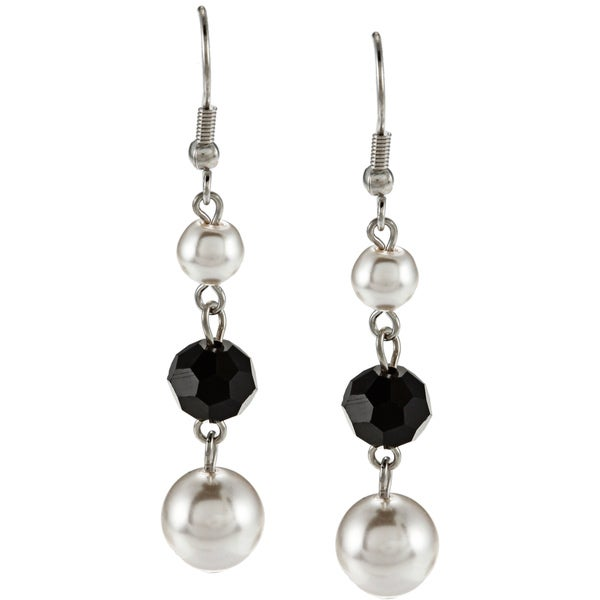 Alexa Starr Silvertone Pearl and Black Glass Triple Drop Earrings