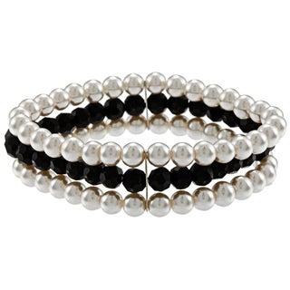 Alexa Starr Pearl and Black Glass 3-row Stretch Bracelet