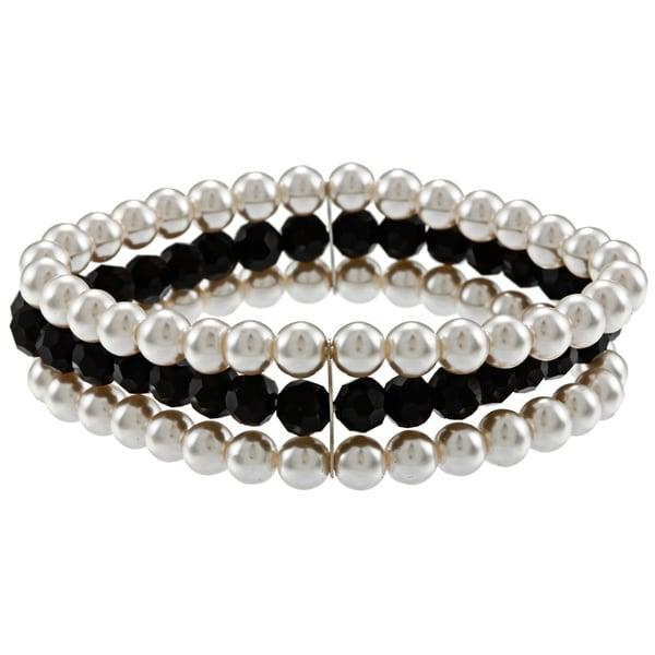 Alexa Starr Pearl and Black Glass 3-row Stretch Bracelet